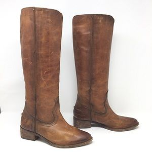 Frye Ray Western Pull On Boots Cognac Size 6
